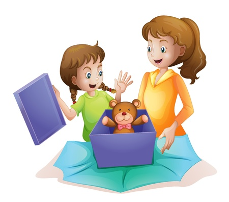 baby open present: illustration of mom and kid