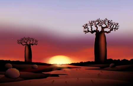 moonrise: illustration of an african nature in the night Illustration