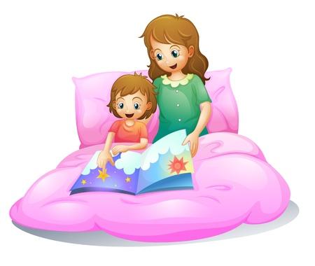 illustratie van moeder en kind zittend op een bed