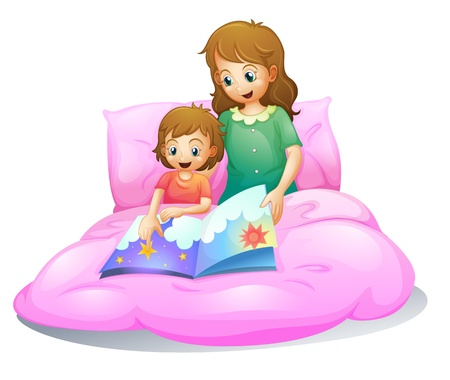 bed sheet: illustration of mom and kid sitting on a bed