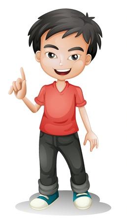 cartoon jongen: illustratie van een jongen op een witte achtergrond