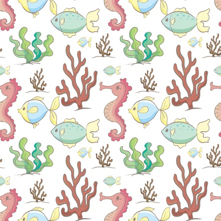 illustration of sea animals and plants on a white background Vector