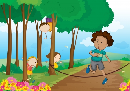 illustration of kids in a beautiful nature Stock Vector - 16188312