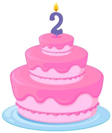 pink cake: illustration of a birthday cake on a white background Illustration