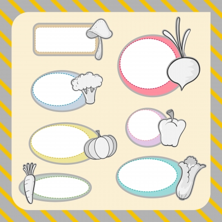 broccolli: illustration of various vegetables and shapes on a colored background