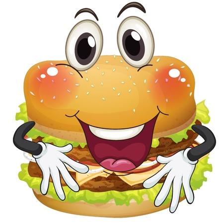 illustratie van een hamburger op een witte achtergrond