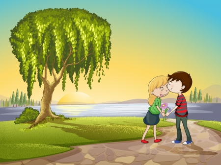 illustration of a boy and a girl in beautiful nature Vector