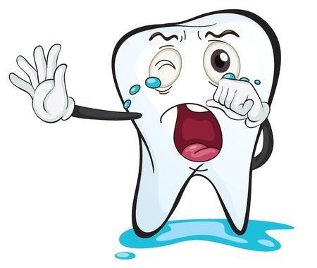 Ilustración de un diente en un fondo blanco Ilustración de vector