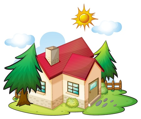 illustration of a house in a beautiful nature Vector