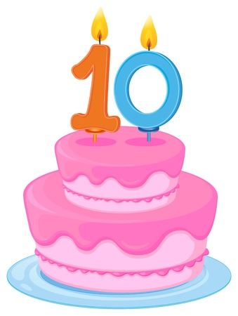 number 10: illustration of a cake with candle 10 on a white background Illustration