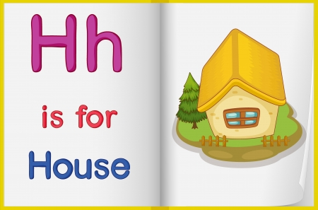 letter alphabet pictures: illustration of a book  with a picture of a house Illustration