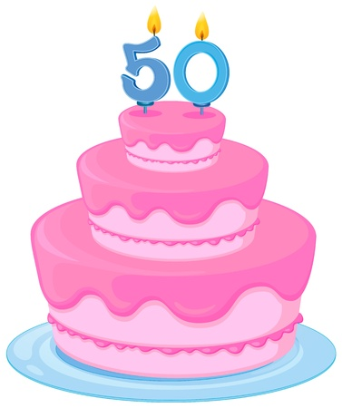 decorated cake: illustration of a cake with candle 50 on a white background
