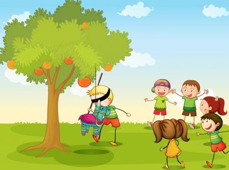 blindfold: illustration of kids playing games in nature