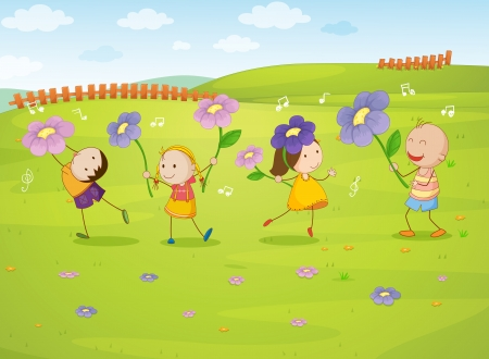 pals: illustration of kids in a beautiful nature