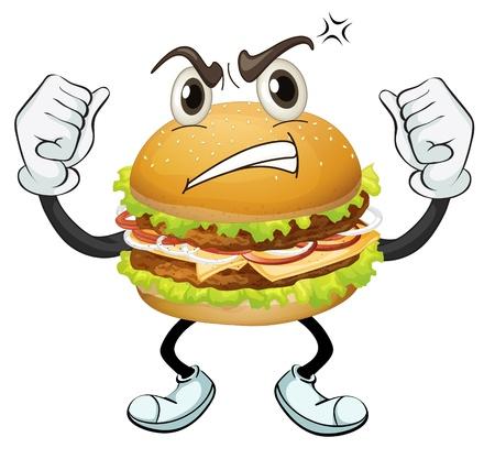 illustratie van een hamburger op een witte achtergrond Vector Illustratie