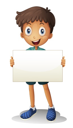 illustration of a boy holding a paper on a white background Vector