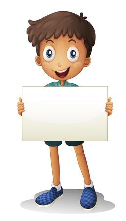ni�os hablando: Ilustraci�n de un muchacho que sostiene un documento sobre un fondo blanco
