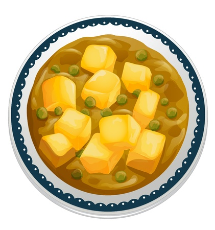 curry: illustration of a paneer curry on a white