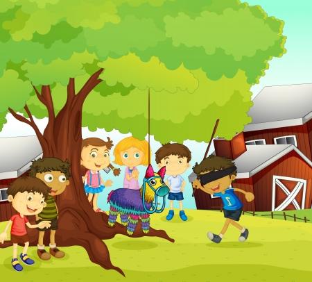 hanging woman: Illustrazione di bambini che giocano giochi in natura