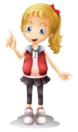 ilustración de una chica sobre un fondo blanco