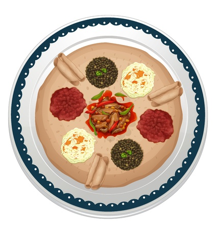dinner plate: illustration of various dips in a dish on a white background