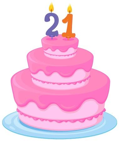 21: illustration of a birthday cake on a white background Illustration