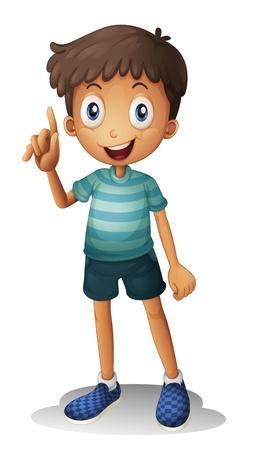 niños platicando: ilustración de un muchacho en un fondo blanco Vectores