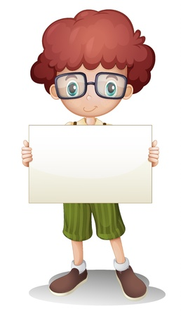 kids glasses: illustration of a boy on a white background