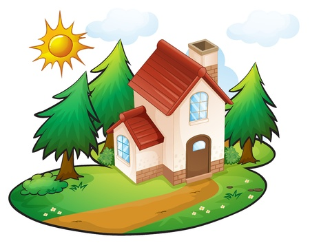 illustration of a house in a beautiful nature Stock Vector - 16283375