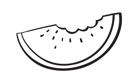 watermelon slice: illustration of a watermelon slice sketch on a white background