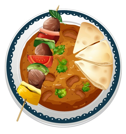 beef curry: illustration of a curry and a meat on a white background