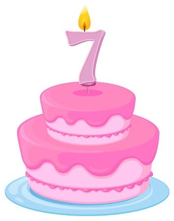 number candles: Ilustraci�n de una tarta de cumplea�os en un fondo blanco