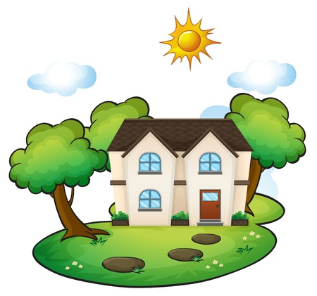 mansion: illustration of a house in a beautiful nature Illustration
