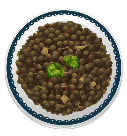 렌즈 콩: 흰색 배경에 렌즈 콩, 그릇의 그림 일러스트