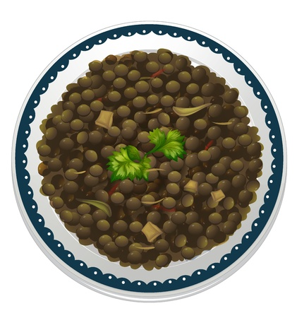 lebanese: illustration of a lentils and a bowl on a white background Illustration