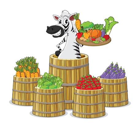 brinjal: illustration of a zebra and vegetables on white background