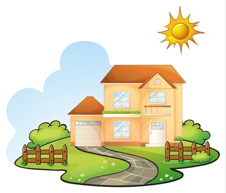 Abbildung eines Hauses in einer wunderschönen Natur Vektorgrafik