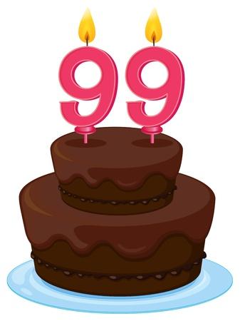 99: illustration of a birthday cake on a white background Illustration