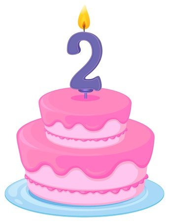 illustration of a birthday cake on a white background Stock Vector - 16283680