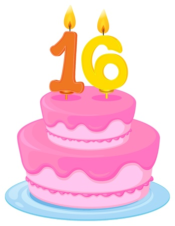 sweet sixteen: illustration of a birthday cake on a white background Illustration