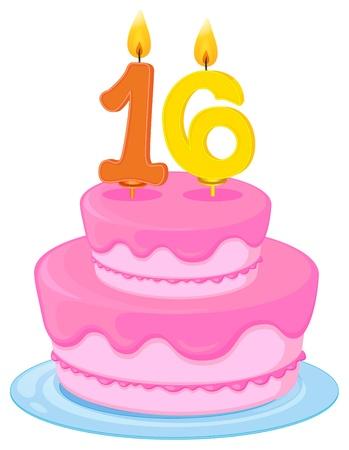 sixteen: illustration of a birthday cake on a white background Illustration
