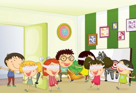 illustratie van kinderen spelen games in een kamer