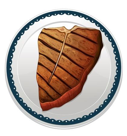steak plate: Ilustraci�n de un filete y una placa en un fondo blanco