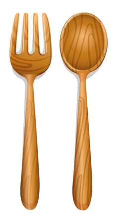 cucina antica: illustrazione di un cucchiaio di legno su uno sfondo bianco