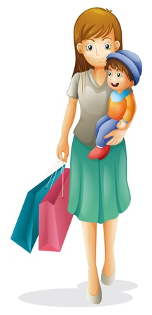 kid shopping: illustration of a mother and a kid on a white background