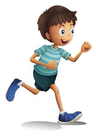 walking shoes: illustration of a boy on a white background