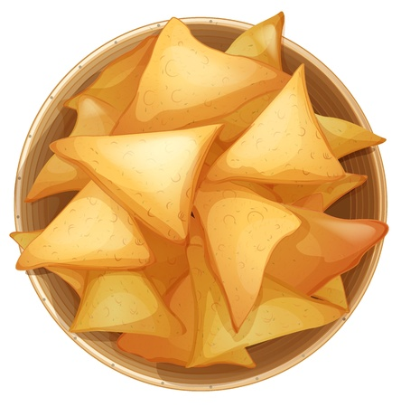 tortilla de maiz: Ilustración de Cornies en un plato sobre un fondo blanco Vectores