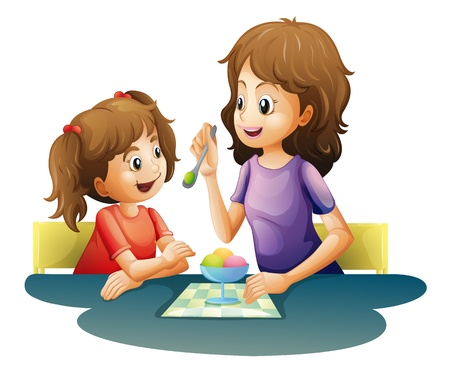 family eating: illustration of mom and kid on a white background