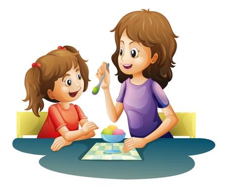 kid eat: illustrazione di mamma e bambino su uno sfondo bianco