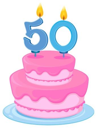 number 50: Ilustraci�n de una tarta de cumplea�os en un fondo blanco